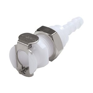 3 / 16 Hose Barb Non-Valved Panel Mount Acetal Coupling Body
