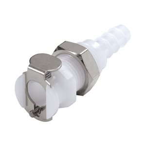 1 / 4 Hose Barb Non-Valved Panel Mount Acetal Coupling Body
